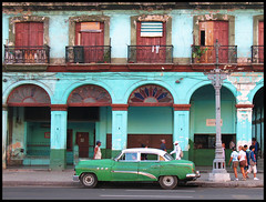 It all starts here (steverichard) Tags: auto street city morning people building green car architecture vintage island us photo calle image capital havana cuba ciudad coche carro caribbean socialism kuba lahabana lifeincuba steverichard