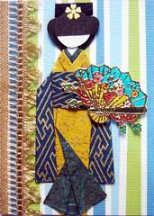 ATC379 - Kaoru (tengds) Tags: flowers blue brown white green atc fan stripes kimono obi ribbon ochre embossed papercraft japanesepaper washi ningyo handmadedoll handmadecard chiyogami scrapbookpaper yuzenwashi japanesepaperdoll nailsticker washidoll origamidoll tengds