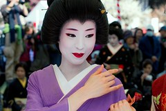 Umeha at Baika Sai, Kyoto (richard thomson) Tags: red portrait topf25 face festival japan japanese kyoto lips maiko geiko geisha teaceremony ume matsuri nodate kitanotenmangu baikasai hanamachi kamishichiken umeha plumblossomviewingfestival