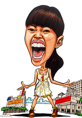 Caricature of Singapore singer Serene Koong 龚芝怡