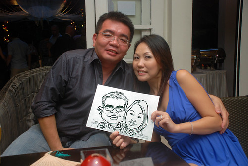 caricature live sketching for David & Christine wedding dinner - 8