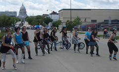 Capitol Lineup (alleenski) Tags: feet stockings wisconsin dance shoes dancers dancing boots bicycles madison fishnets 2010 gogogirls ridethedrive greasygears