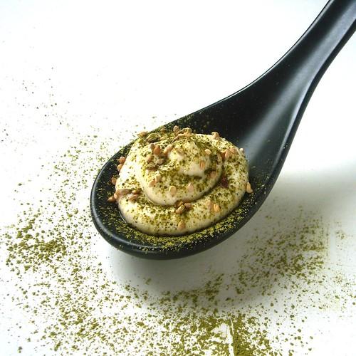 Fresh Tofu mousse with sesame seed and Matcha powder