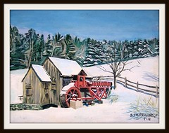 Winter Scene -  Acrylic Painting by snc145 - Photo of Painting by snc145 (snc145) Tags: blue trees winter sky white snow art mill fence landscape outside scenery artist artists sensational 1978 the70s flickraward flatcanvas snowmill stevenchateauneuf