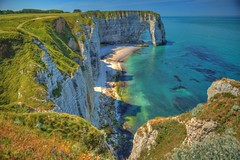 Cliffs, tretat, Normandie - France (Stewart Leiwakabessy) Tags: blue houses people france nature buildings outdoors boat turquoise cliffs atlantic stewart sail normandie normandy atlanticocean hdr tretat atlantique leiwakabessy stewartleiwakabessy photomatix