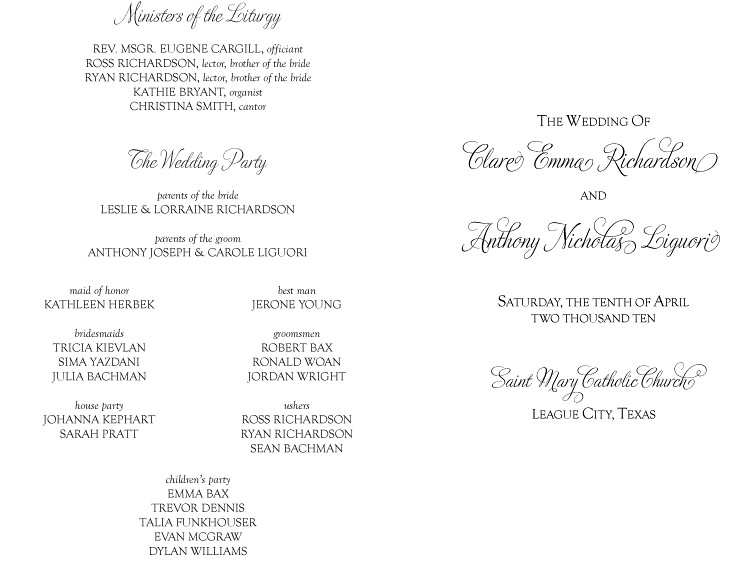 catholic ceremony program