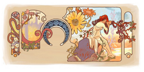 The Google logo celebrating 150th anniversary of the birth of Alphonse Mucha