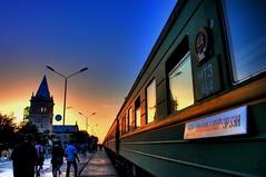 I'm in Ulan Bator, Mongolia (ShanLuPhoto) Tags: trip travel blue sunset train asia railway mongolia journey trainstation hour ulanbator 蒙古 монголулс transiberia zamynuud