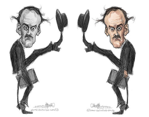 digital caricature of John Cleese - 2 b&w vs colour small