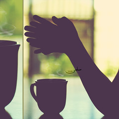 {  (Salma Alzaid ) Tags: morning shadow hot green kitchen coffee vintage garden dark table hands waiting arms tea bokeh smoke shade grage silhouttee salmaphotography salmaz