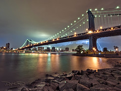 Manhattan Bridge Lightning Bolt from Brooklyn - Empire Fulton Ferry State Park (DiGitALGoLD) Tags: park new york nyc bridge storm motion blur ferry brooklyn night clouds nikon long exposure shot state manhattan tripod blowing empire bolt lightning fulton f28 gitzo d3 1424mm digitalgold