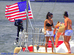 Pretty Girls sailing up Hudson River on a Sunday Afternoon (nrhodesphotos(the_eye_of_the_moment)) Tags: girls boat pretty sailing flag hudsonriver railing buoys inboardmotor nrhodesphotosyahoocom wwwflickrcomphotostheeyeofthemoment theeyemomentphotosbynolanhrhodes dscn6748365nhrt