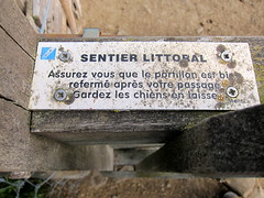 Warning to Hikers (Adam Kuban) Tags: signs france honeymoon hiking signage normandy montsaintmichel saltmeadows hikeday3 sentiersdefrance