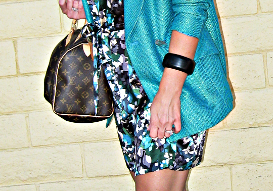 louis vuitton speedy+floral print dress+teal blazer+black bangle