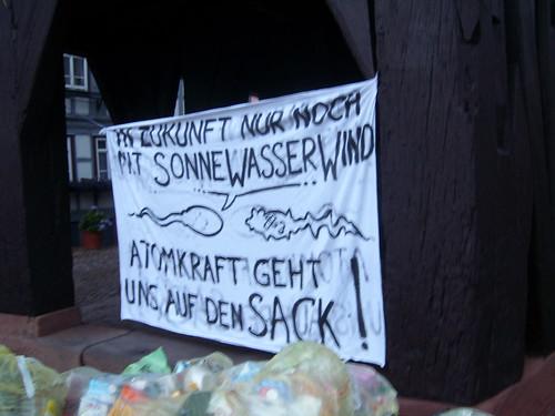 AntiAtom Transparent an Historischem Rathaus in Michelstadt