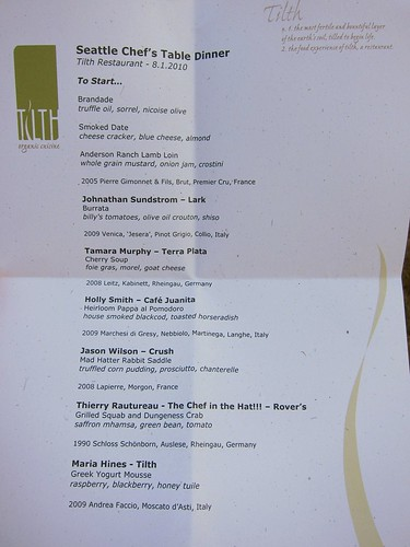 Chef's Table Menu August 1