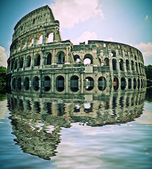 flooded colisseum (petervanallen) Tags: italy holiday rome reflection flood colisseum gladiator