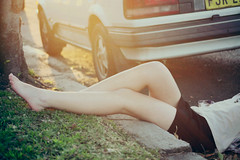 (lucia pang) Tags: park trees sunset feet grass car fashion sunrise vintage photography back pretty dress transport emma retro indie lucia looked pang ellepa