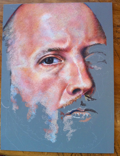 In progress colored pencil portrait entitled Self Portrait VII