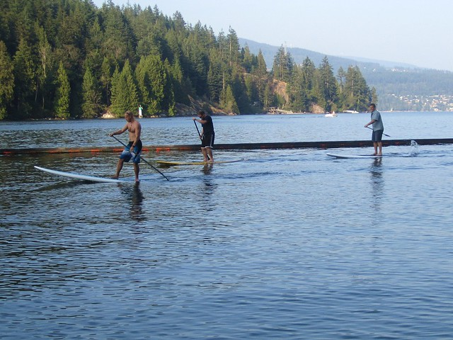 Stand-up paddlers going by