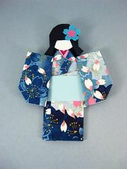 Chiyogami paper doll - Sora (umeorigami) Tags: blue asian handmade crafts geisha yukata cherryblossom sakura kimono etsy apanese zibbet