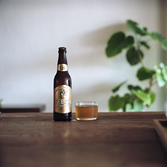 Would you like some beer? ; ) (Momota.M) Tags: 120 6x6 film beer rolleiflex tokyo cafe portra photoexhibition momotam tegamisha