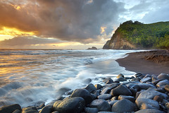 Pololu Valley #1 - Big Island, Hawaii (PatrickSmithPhotography) Tags: ocean trees light sea sky usa seascape rock clouds sunrise landscape hawaii lava sand waves unitedstates wave northshore valley bigisland kohala hawi pololu blacksandbeach photocontesttnc11