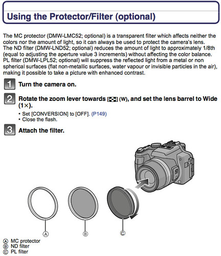 Using protectors / filters, as documented on page 204 of the Panasonic FZ100 Manual