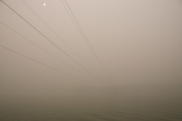 moscow river covered with smog