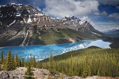 Peyto Lake (Grant Ordelheide) Tags: travel trees mountain lake canada clouds rockies banff lakelouise canmore 2010 peytolake morainelake peyto canadianrockies grantordelheide