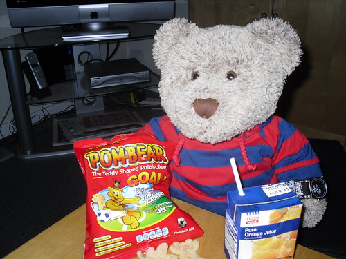 Ted enjoying half-time snack while watching World Cup 2010