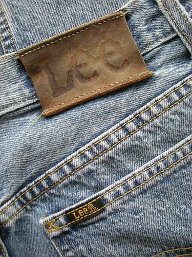 blue chicago leather logo label jeans lee 80s denim brand legend w30