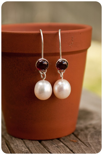 200.  Pearl and garnet earrings