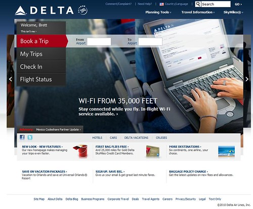 Delta New Homepage