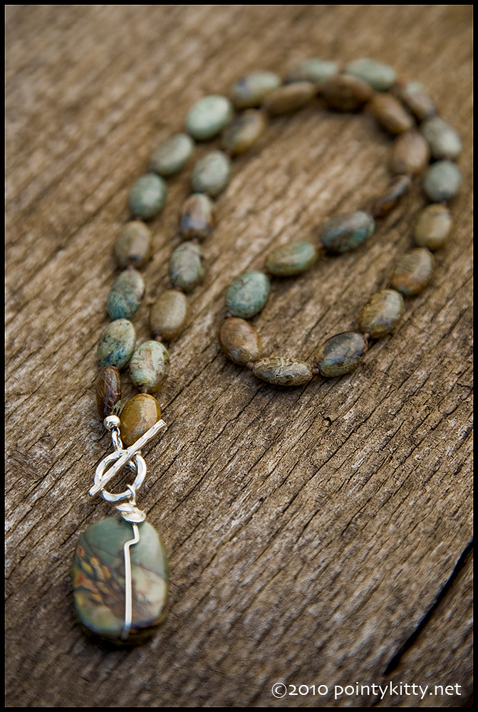 Reflection in Time - sterling, African green jasper and thai hill tribe silver necklace