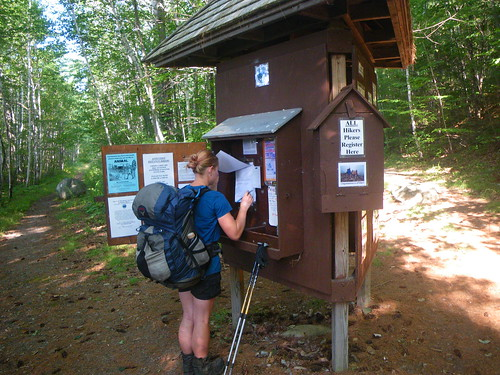Misti Signing in at Baxter State Park