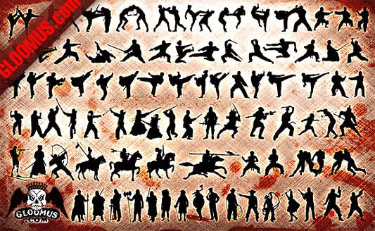 Click en la imagen para descarga 81 Siluetas en formato vector - Lucha, Pelea, Combate
