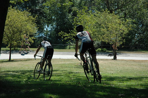Riding bikes at Greenlake, in full bike gear, Seattle, Washington, USA