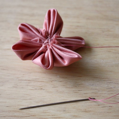 Step 15: Pull Thread to Form Flower