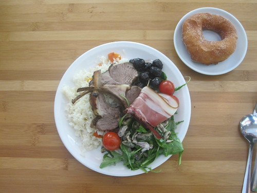Lamb chops, rices, salad, olives parma ham, donut from the bistro - $6