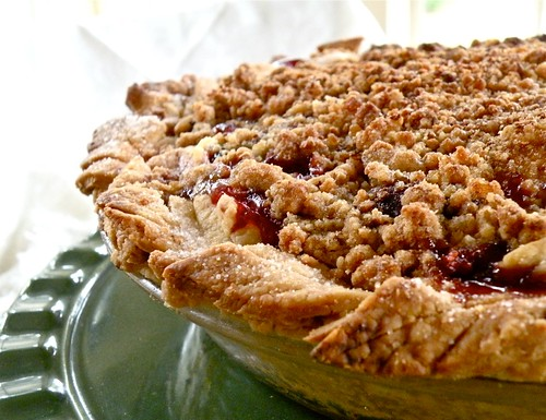 cherry apricot pie with ginger-almond crunch