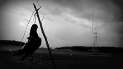 Guardian Angel (garethfw) Tags: up lines warning dead death suffolk wire power farm scarecrow pylon crops crow corpse pylons scare strangled blackbird displayed hung hanged strung jackdaw macarbe macarbre deter deterent garotted rural2010