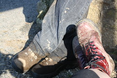 home time (yorkshirepuddin) Tags: holiday feet t mud boots adventure journey tired muddy arran isleofarran burgandy drmartins dms doccas