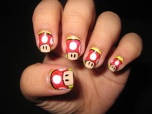 1UP Mushroom Super Mario Nail art design