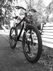 Jack the Bull.. (T.M.85) Tags: park red bw bike photoshop jack mountainbike bulls mtb copperhead