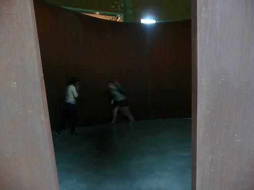 running around inside art.