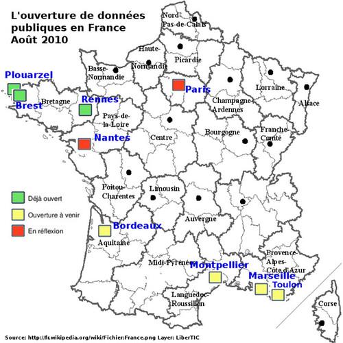 Carte de l'Open Data en France