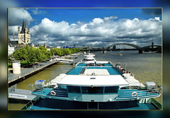 The River (My Hometown ) (scorpion 13 I'm in vacation ;o))) Tags: germany cologne hometown rhine hohenzollern bridge ship clouds sky blue pegel frame colour summer sun great st martins church friends gr8photos anawesomeshot  music  p h o t s  motivations inthemood