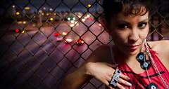 Night shoot with Kristen (awallphoto) Tags: city bridge red arizona portrait sky night pen asian lights cityscape dof 28mm az olympus depthoffield nightshoot f2 chainlinkfence zuiko 43 fbc zd 14mm mft awall 1435mm aaronwallace epl1 microfourthirds arizonahiphop awallphoto awallphotocom