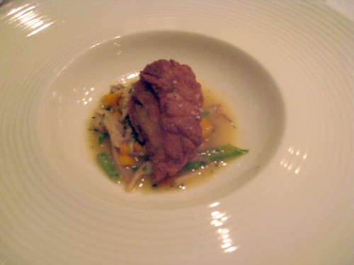 Quinones at Bacchanalia, Atlanta, August 2010 - Crispy Veal Sweetbreads, Oyster Mushrooms, Pole Beans,Young Carrots